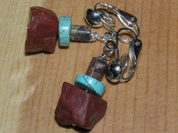 Clip On Earrings- Red and Leopardskin Jasper with Turquoise