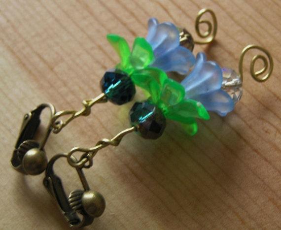 Clip On Earrings- Brass and Blue Lucite Flowers