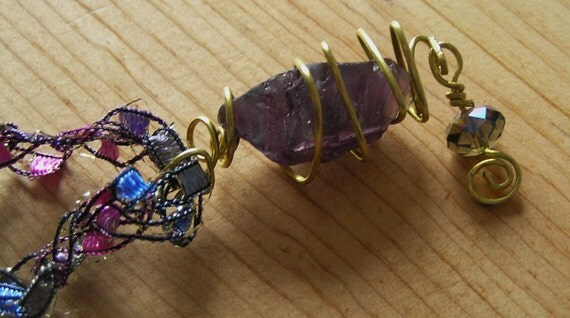 Purple Sea Glass and Brass Pendant on Etsy