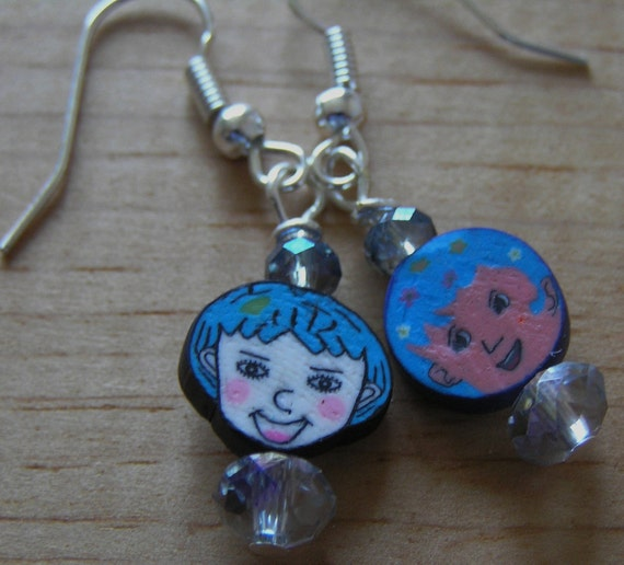 Hypoallergenic Polymer Clay Face w/ Blue Luster Crystal Earrings
