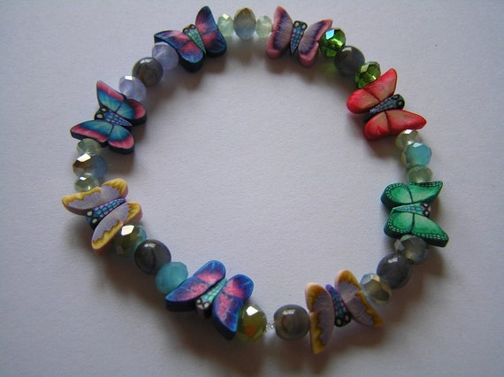 Butterfly Summertime Stretchy Bracelet with Czech Glass and Crystal Beads