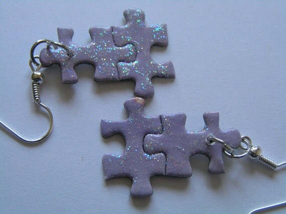 Recycled Lilac Colored Puzzle Earrings w Sparkly Finish & Hypoallergenic Hooks
