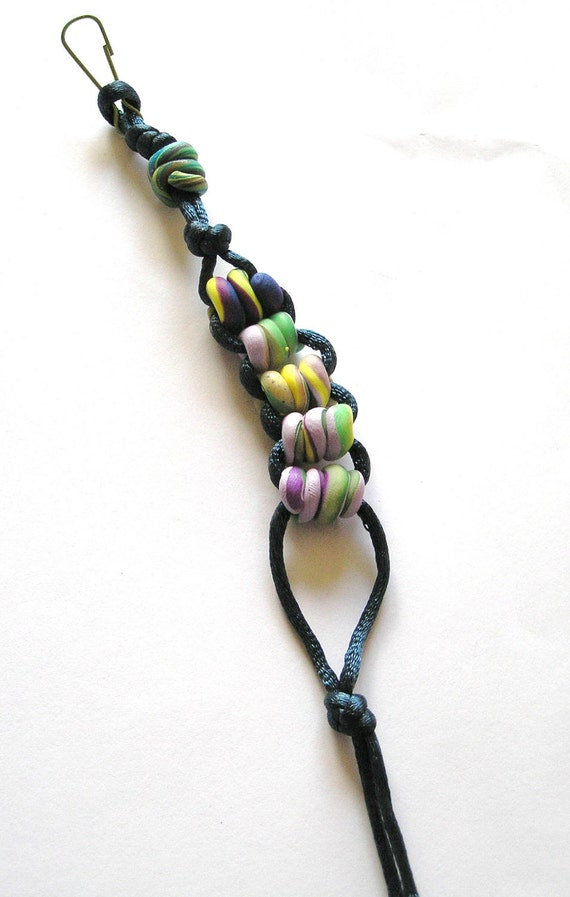 Stress Relief Keychain or Zipper Pull with Dark Blue Cord and Handmade Polymer Clay Beads