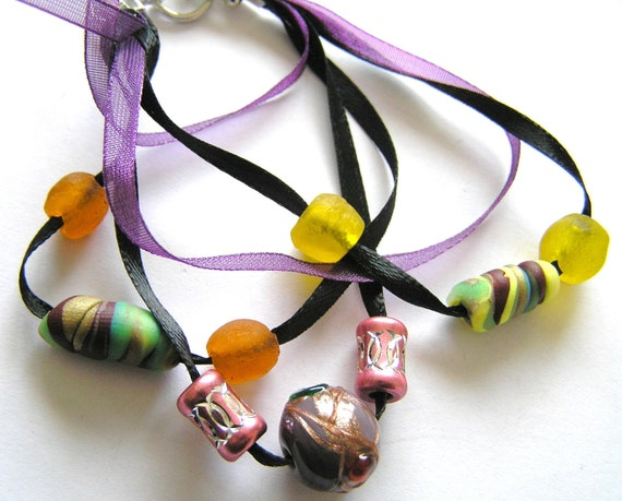 Black and Purple Multistrand Ribbon Bracelet w Recycled Glass & Polymer Clay Beads