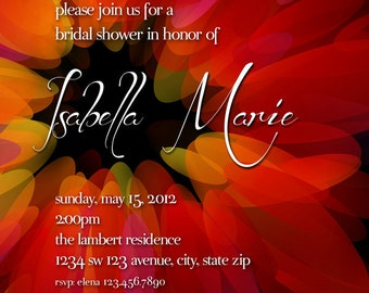 Red and Black Bridal Shower Invitation, Red, Black and Orange Flower Invitation - Red Flower Invitation