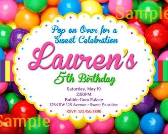 Bubble Gum Invitation  - Bubble Gum Birthday Invitation - Gum Ball Invitation - Bubblegum Invitation