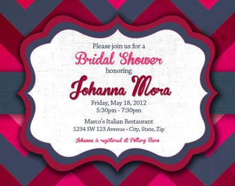 Charcoal & Pink Invitation  - Grey and Fuchsia Bridal Shower Invitation - Charcoal and Raspberry Invitation
