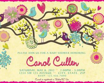 Birds Baby Shower Invitation - Spring Baby Shower Invitation - Vintage Rustic Baby Shower - Vintage Rustic Invitation