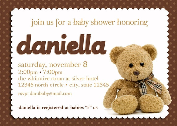 teddy bear baby shower invitation boy girl gender neutral teddy