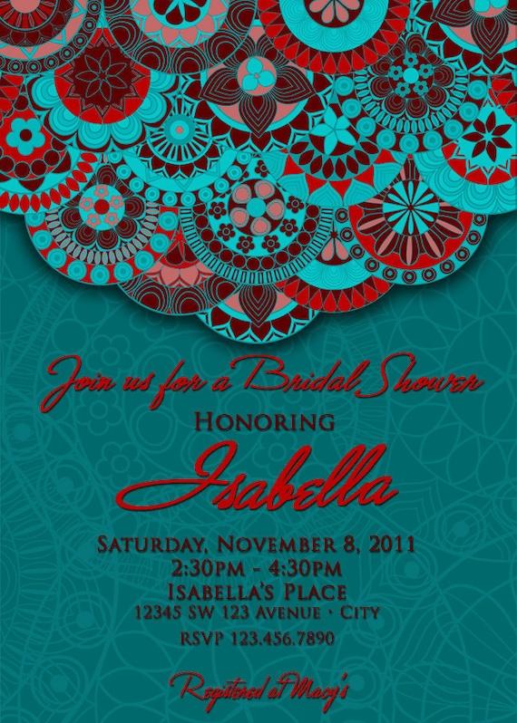 Turquoise Bridal Shower Invitation, Turquoise, Red & Brown Invitation - Red, Blue and Brown Invitation
