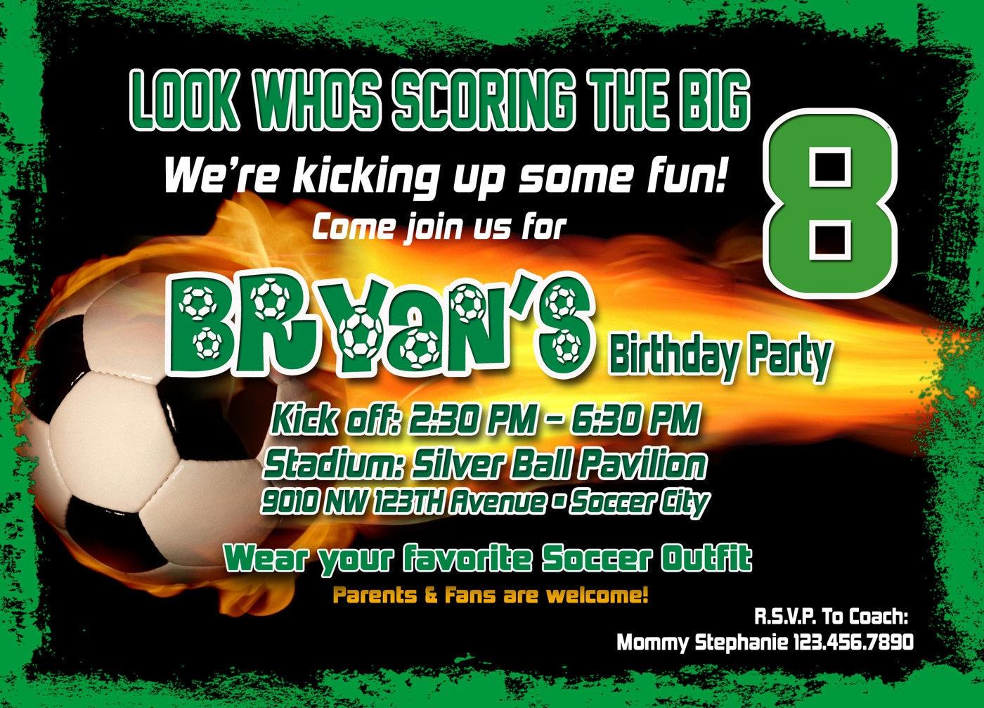 Soccer Birthday Invitation Printable File DIY Soccer