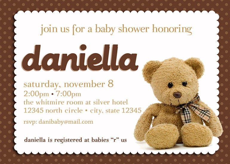 teddy bear baby shower invitation boy girl gender neutral
