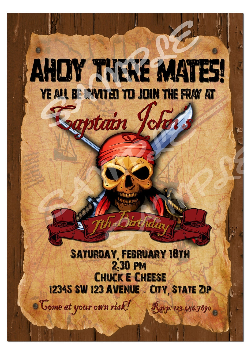 Pirate invitation pirate birthday invitation diy printable zoom stopboris