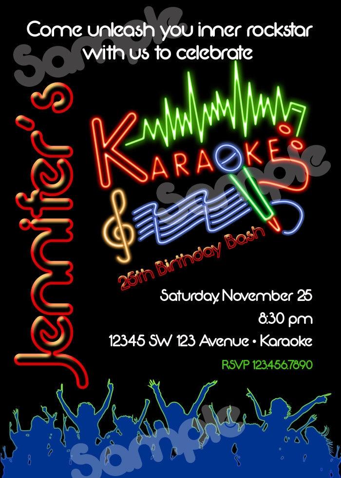 Karaoke Birthday Invitation Printable File DIY Karaoke