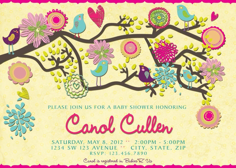 birds baby shower invitation  spring baby shower invitation, Baby shower invitations