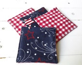 July 4th Fabric Coasters With Red White and Blue Stars and Red Checks on Reverse Side Set of Four