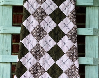 Sale Priced, Argyle Baby Quilt, Modern Baby Quilt for Girls', Pink and Brown Nursery Bedding, Hand Quilted Baby Quilt