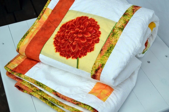 Modern Girls Quilt with Orange and Yellow Flower Patches, Hand Quilted Girls Quilt