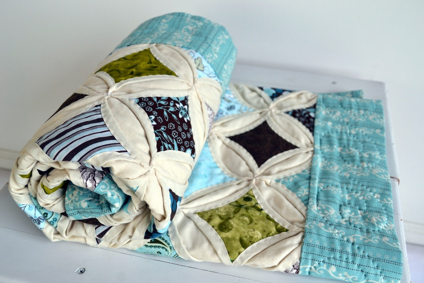 Cathedral Window Quilt Ready To Ship Seaside Inspired Color
