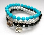 Set of 3 Love and Laugh Stackable Bracelets in Turquoise, Grey Pearl Glass and Black Glass Beads
