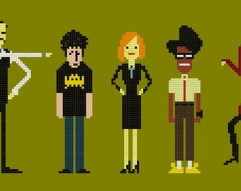 The IT Crowd Cross Stitch Chart Pattern with Denholm and Richmond