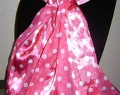 Vintage Long pink polka dot scarf, white polka dots, Satiny, luxurious.  All occasion.