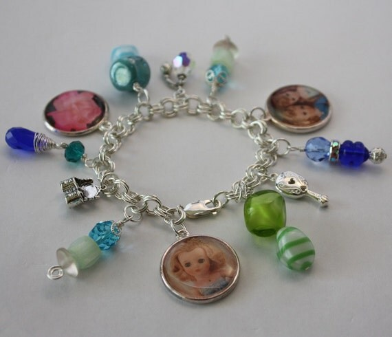 Women's Sterling Silver Charm Bracelet - Featuring Vintage Fashion Dolls Getting Ready for their Dates - Perfume Mirror Vanity Charms