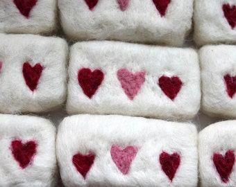 Felted soaps with hearts