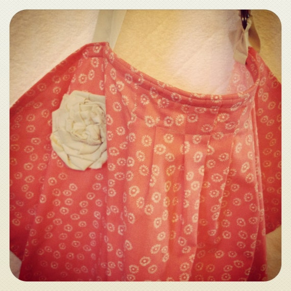 Pleated Nursing Cover with Fabric Flower Detail-Bright Coral and Tan