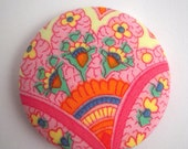 Large Vintage Hippie Girl Fabric Covered Button French Provence Paisley