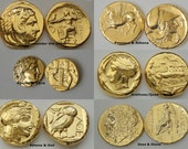 6 Most Famous 24K Gold Plated Greek Coins. Great Unique Gift.