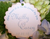 24 Romantic Wedding Favor Gift Tags -  Labels Cards Bridal Shower - Custom Color, Ivory Linen Cardstock,Kissed Edges,Silky Ties