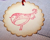 9 Red Bird Gift Tags Bird Favors Labels Thank You Cards Bridal Shower Wedding/Red/Ivory Linen Cardstock/Brown Kissed Edges
