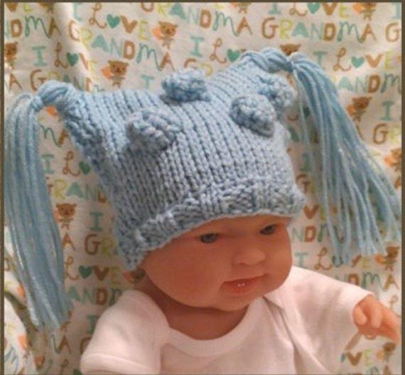 Baby Elf Hat Knitting Pattern : Elf Hat with Tassels Knitted Newborn Boy Photo by PostsNPurls