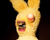 Fuzzy yellow monster Zombie bunny plush doll ooak