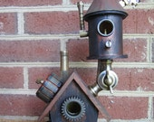 Steampunk industrial mad scientist lab/ mini bird fairy house, indoor decor with copper, brass exhaust chimney parts and patina rust paint