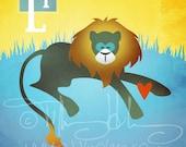 "L is for Lion - Nursery Animal Alphabet Art by Oddly Olive, Tiffany Holesovsky - 8"" x 10""  Epson Paper Giclée Print"