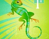 "I is for Iguana - Nursery Animal Alphabet Art by Oddly Olive, Tiffany Holesovsky - 8"" x 10""  Epson Paper Giclée Print"