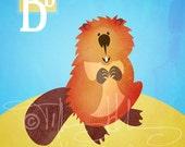 "B is for Beaver - Nursery Animal Alphabet Art by Oddly Olive, Tiffany Holesovsky - 8"" x 10""  Epson Paper Giclée Print"