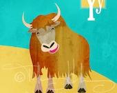 "Y is for Yak - Nursery Animal Alphabet Art by Oddly Olive, Tiffany Holesovsky - 8"" x 10""  Epson Paper Giclée Print"