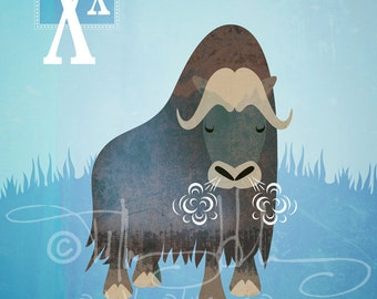 "X is for oX - Nursery Animal Alphabet Art by Oddly Olive, Tiffany Holesovsky - 8"" x 10""  Epson Paper Giclée Print"