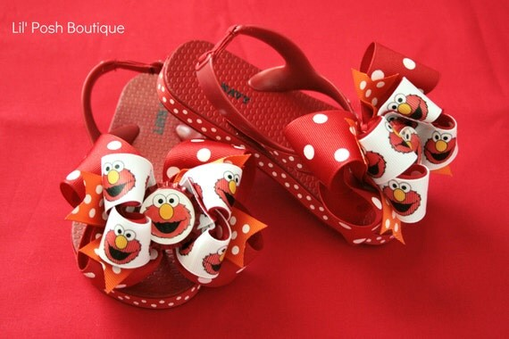 Childerns Boutique Elmo Inspired Flip Flops