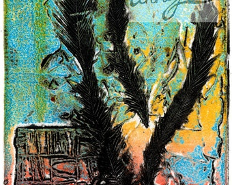 collograph - feathers and colour
