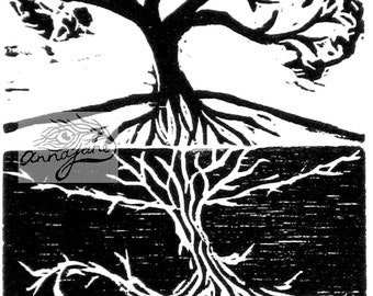 tree of life - black and white woodblock print