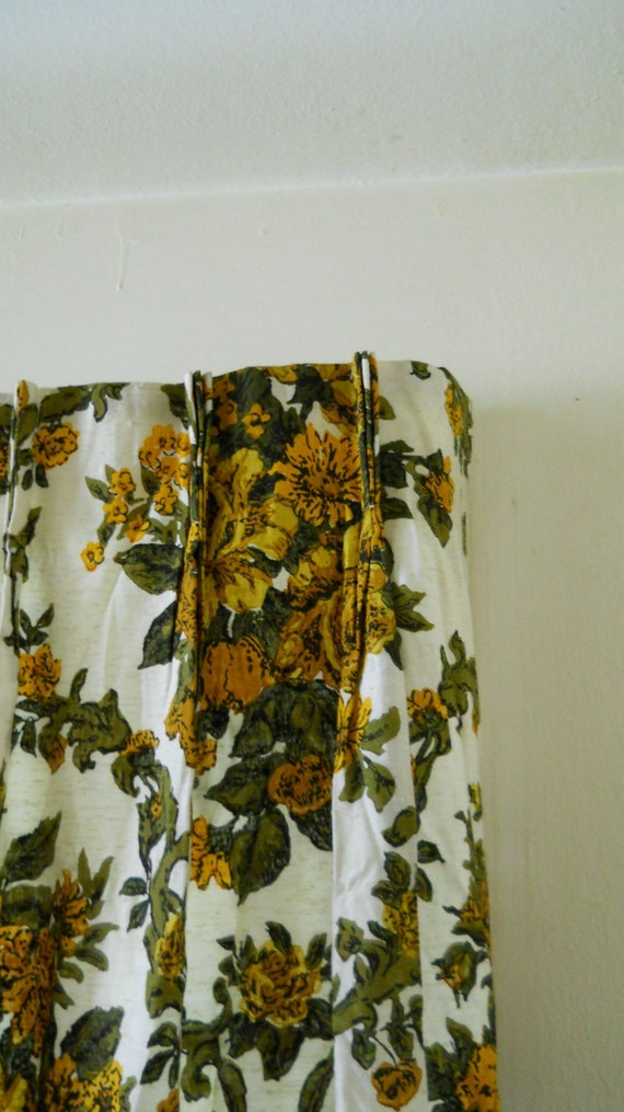 Drapes Mid Century 50s / 60s Mod Pinch Pleated Dramatic Gold Olive Green Floral Pair 2 Thick Lined Blackout Curtain Panels 47 W x 79.5 L Ea