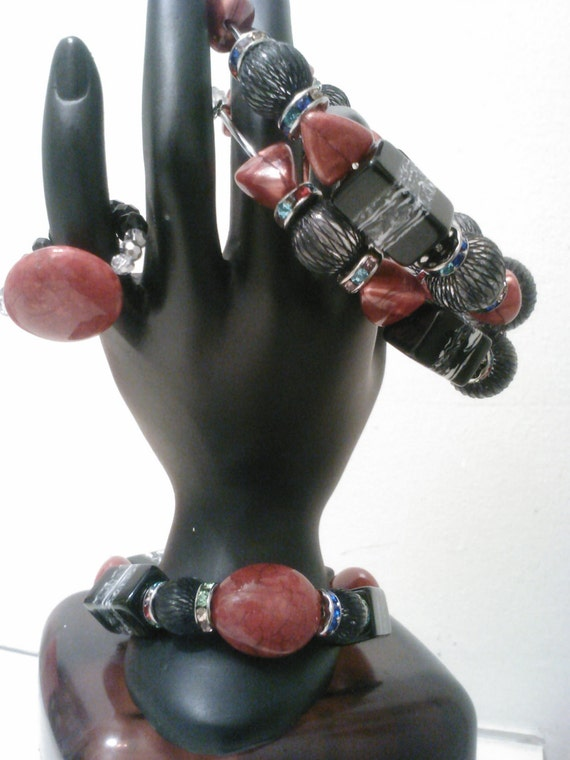 EBONY FLAME Basketball Wives inspired earrings, bracelet and Free ring