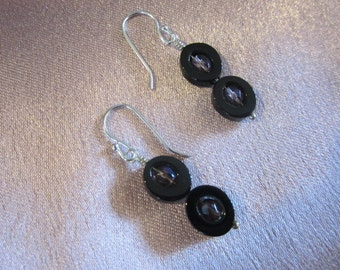 E289 - Black onyx ovals with lavender Swarovski crystals