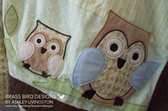 Flannel and Minky Gender Neutral Owl Baby Blanket with Applique Owls
