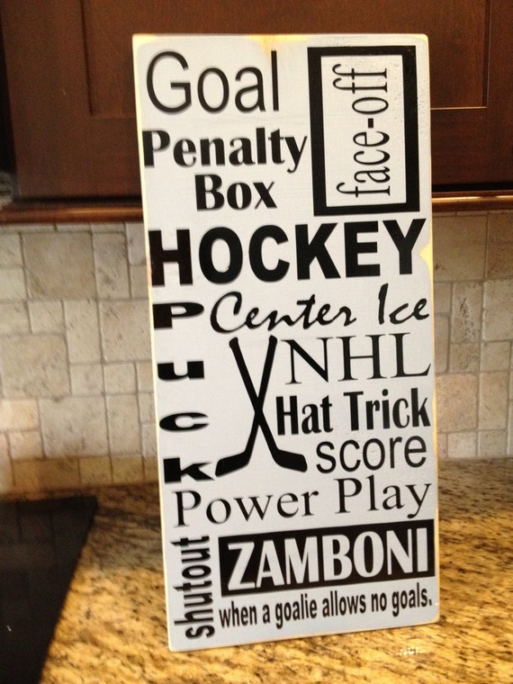 Ice Hockey Subway Art 12x24 Wooden Sign Great By