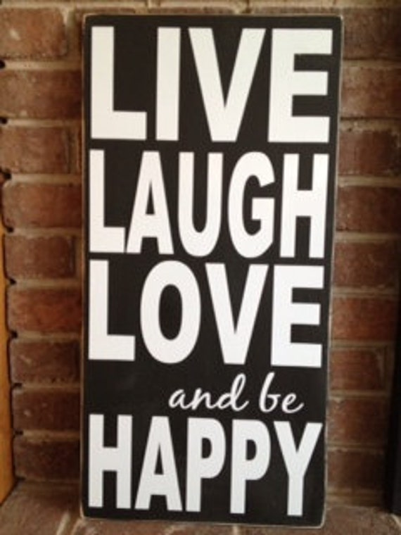 "Motivational Signs, Inspirational Quote ""Live, Laugh, Love & Be Happy"" 12""x24"" Wooden Sign, Housewarming Gift, New Home Decor, Wall Decor"